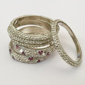 Jewelry - [2 FOR $20] Clear/Purple Stone Encrusted Bangles